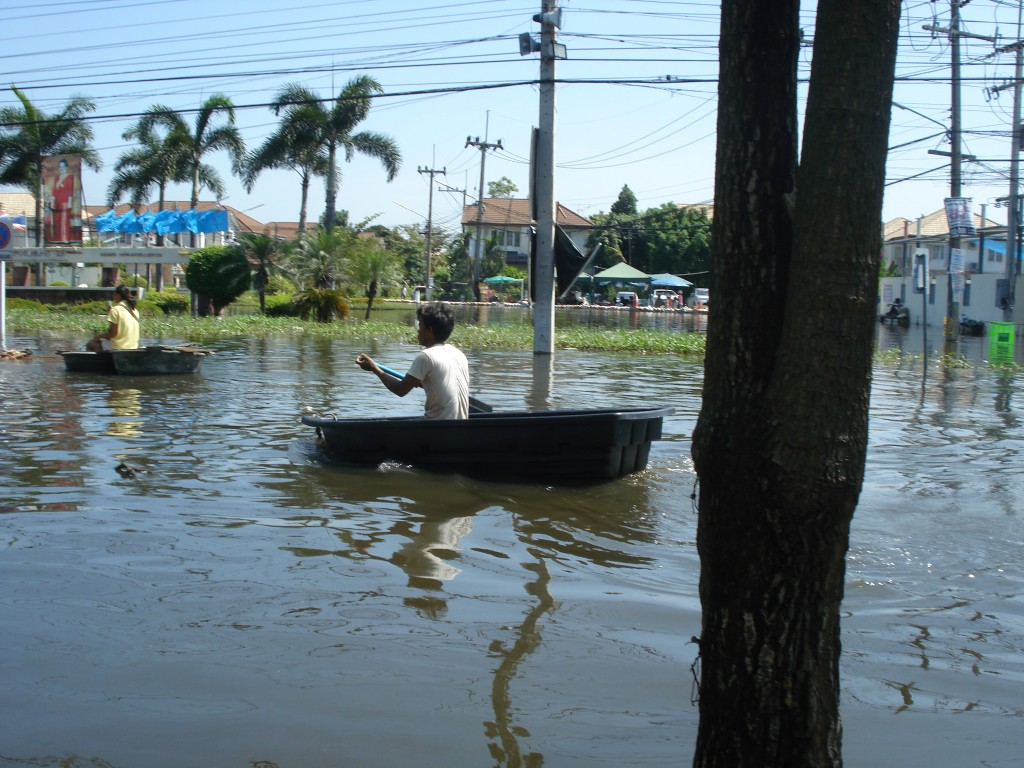 Two Boats During Thailand Flooding 2011