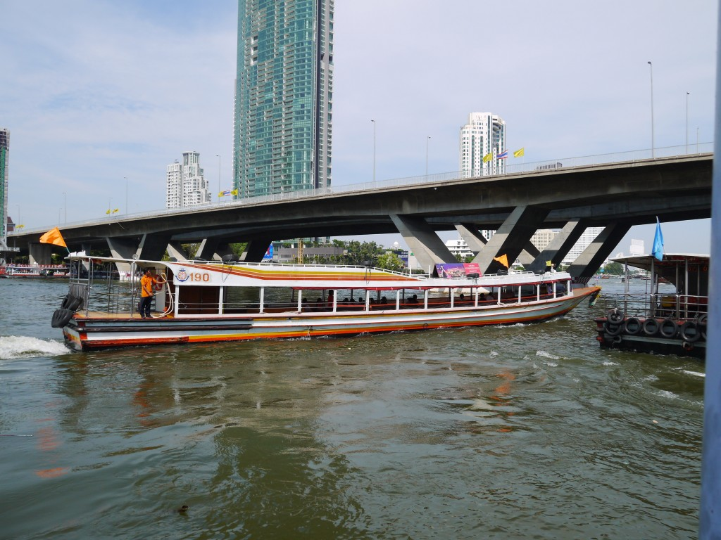 Orange Flag Boat On Chao Phraya River Bangkok
