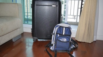 samsonite suitcase and north face backpack