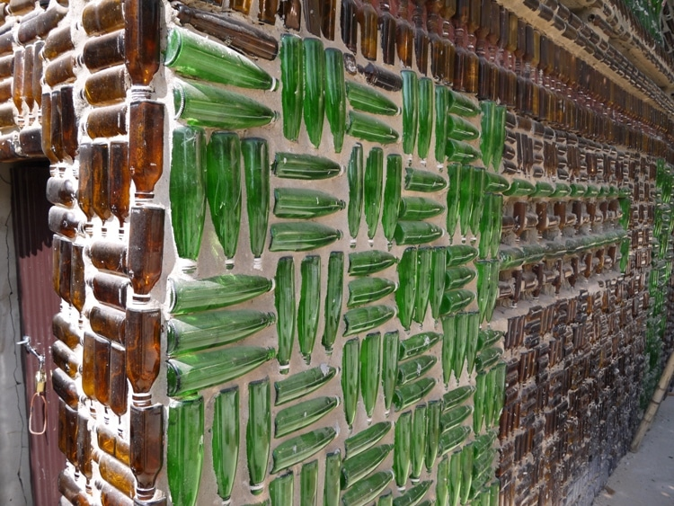 Green Beer Bottles At The Beer Bottle Temple, Thailand