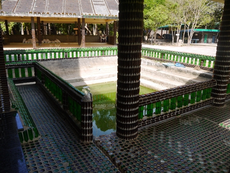 Floors Made From Bottles At The Million Bottle Temple, Thailand