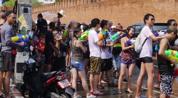Enjoying Songkran At Tae Pae Gate, Chiang Mae