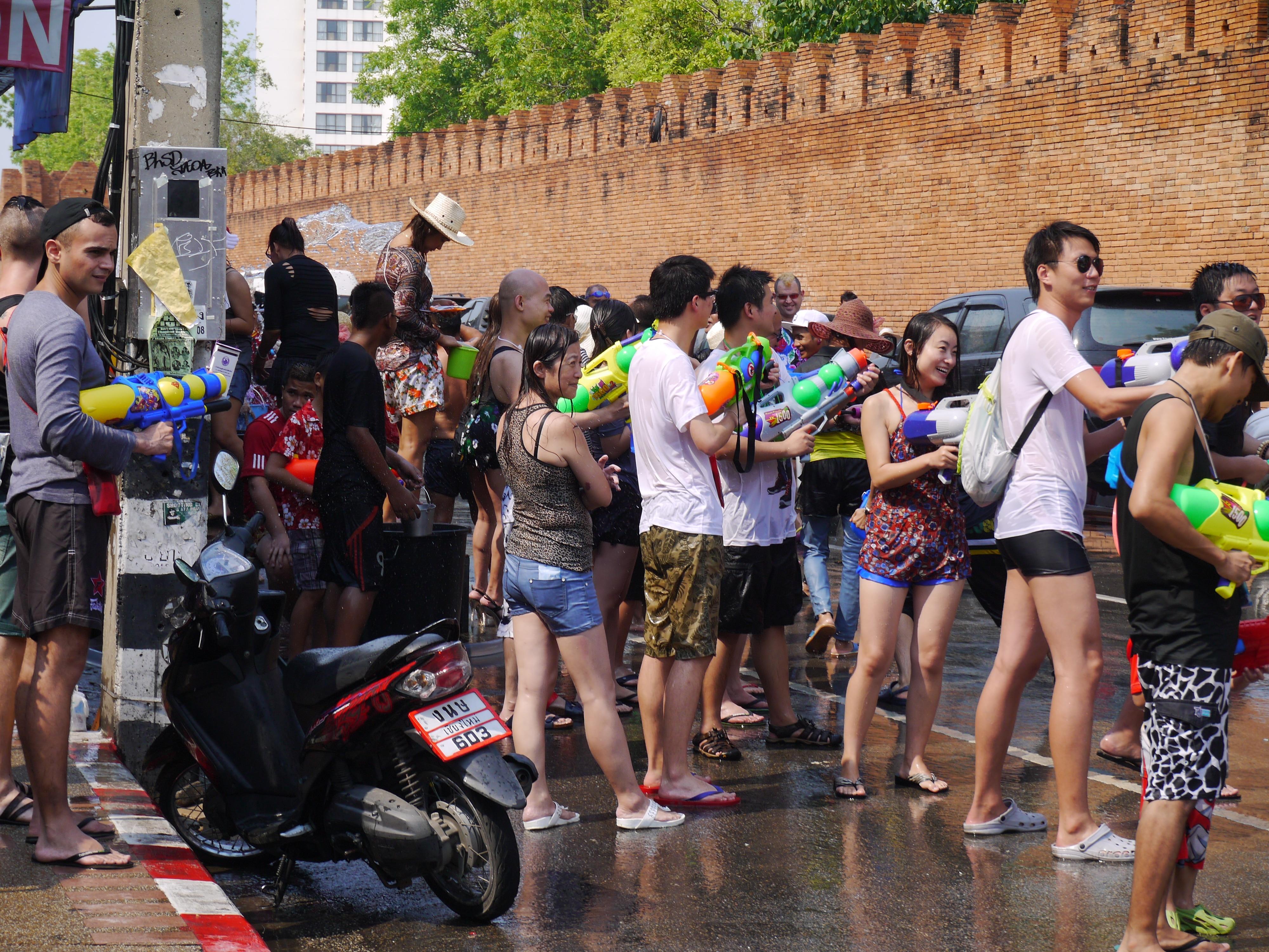Enjoying Songkran At Tae Pae Gate, Chiang Mae