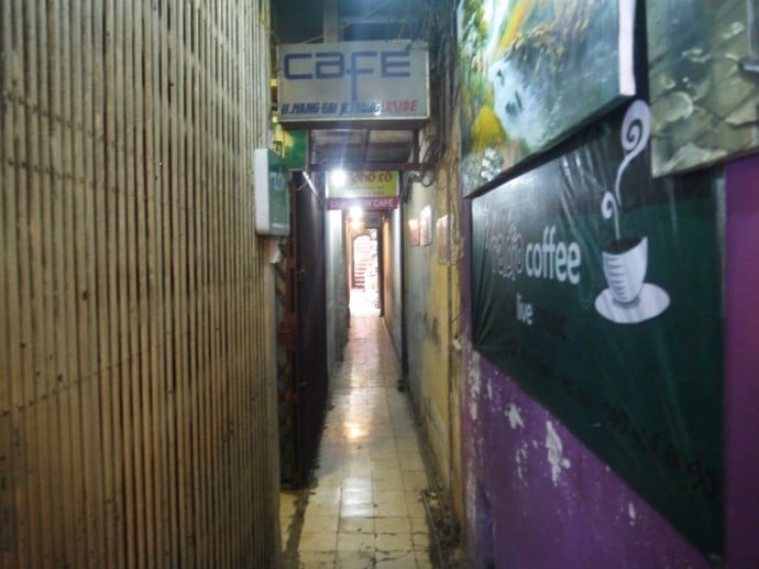 Very Long Alleyway Leading to Cafe Pho Co In Hanoi