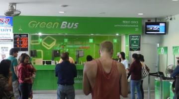 Green Bus Queue At Arcade Bus Station, Chiang Mai