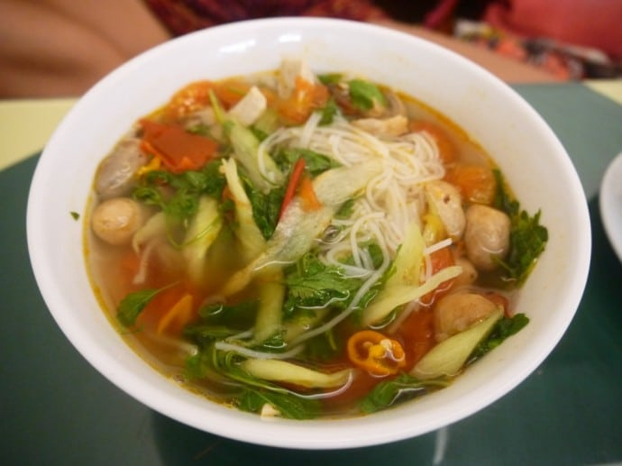Noodle Soup With (Fake) Pork At Com Chay Nang Tam Vegetarian Restaurant
