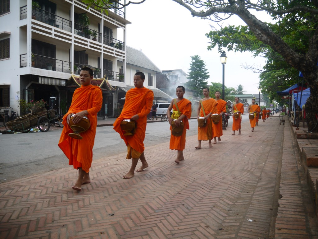 Alms Giving Procession In Luang Prabang, Laos