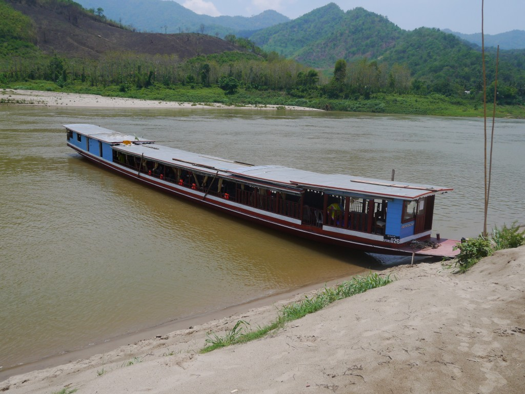 Our Boat At A Sandy Stretch Of The Mekong River