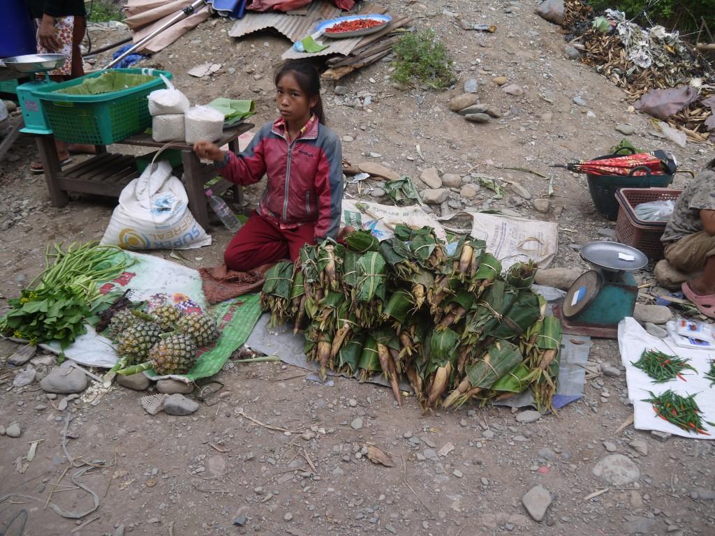 Girl Selling Bamboo Shoots At Pakbeng Market In Laos