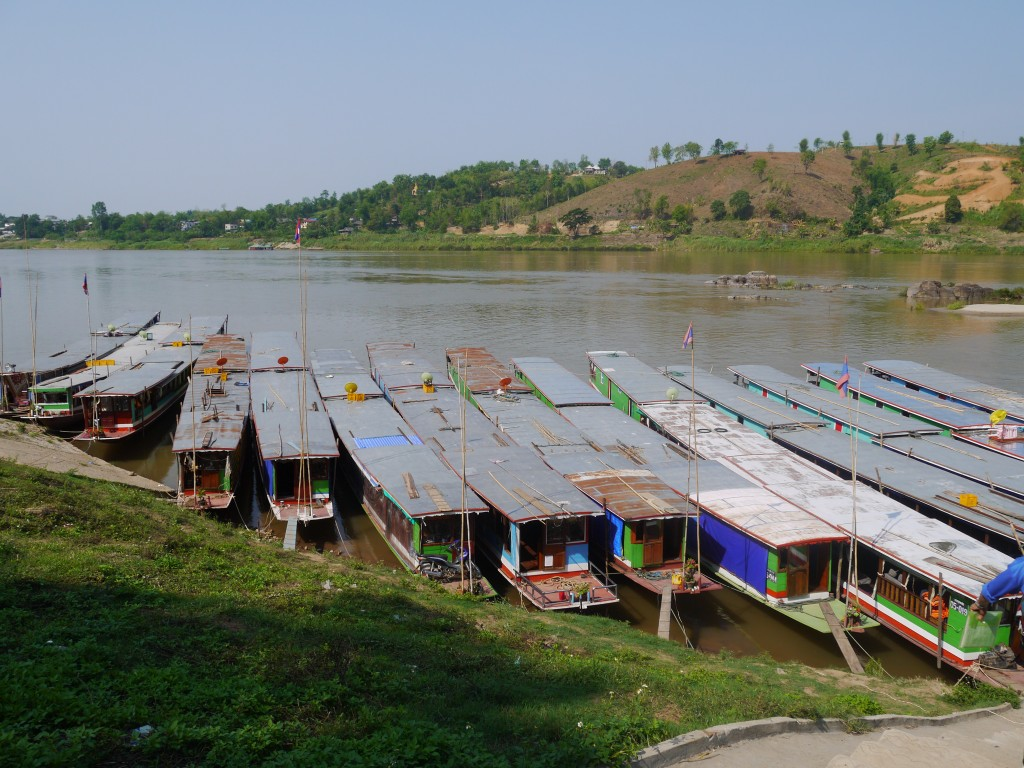 Slow Boats Waiting To Leave For Luang Prabang