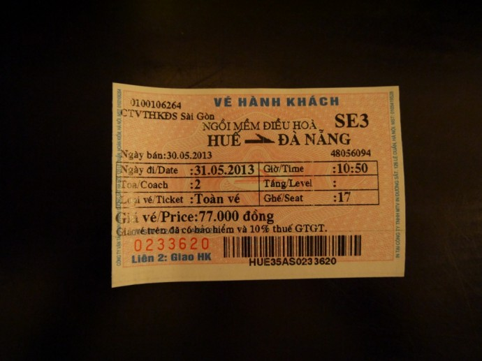 Hue To Danang Train Ticket