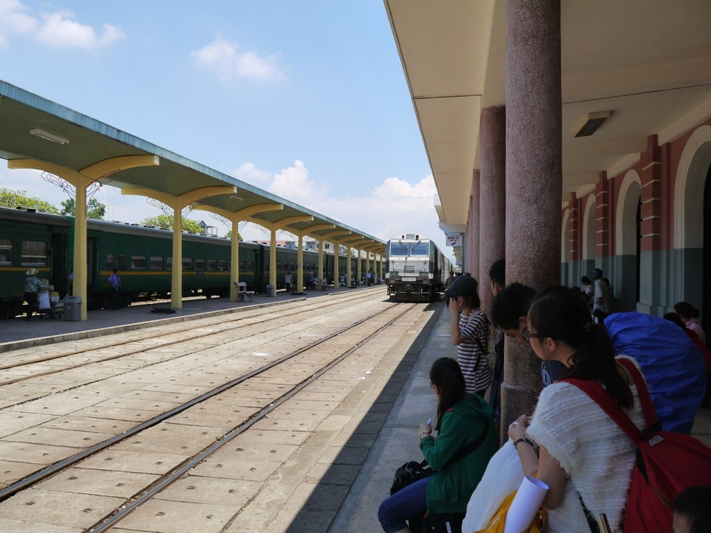 Saigon Train Arriving At Hue Train Station
