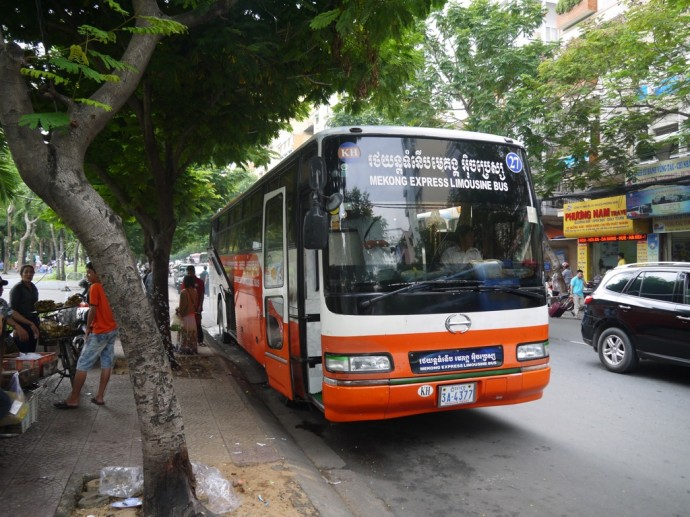 Mekong Express Bus Ready To Leave Saigon For Phnom Penh