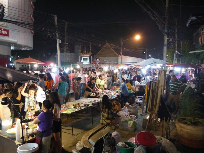 A Very Busy Sunday Night Market At Chiang Mai