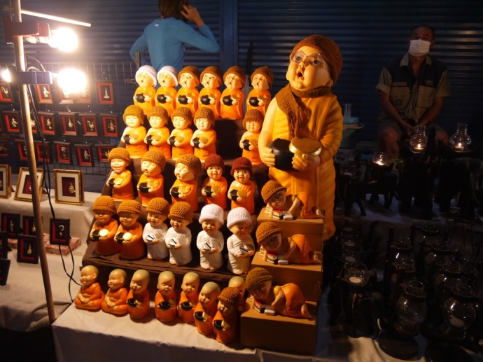 Miniature Monks At Chiang Mai Walking Street Market