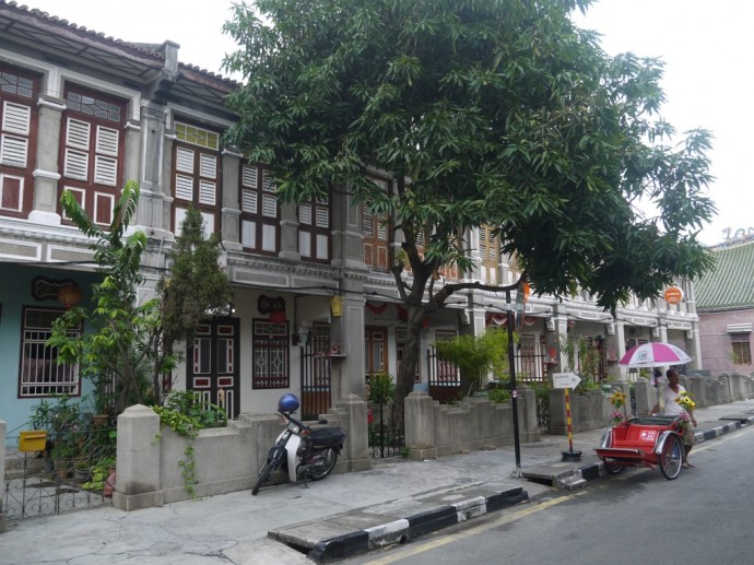 A Row Of Elegant Houses In The Historic City Of George Town