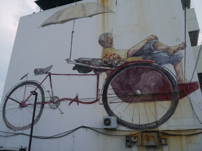 Street Art On Side Of House In George Town, Penang