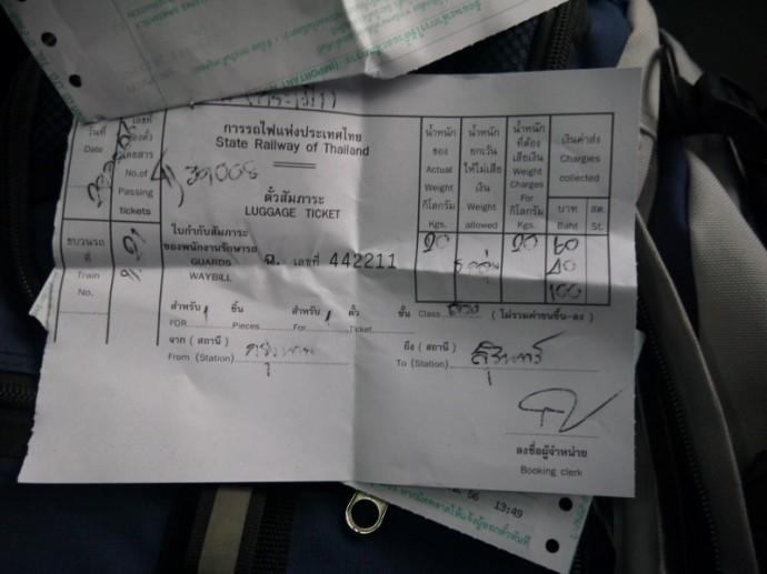Luggage Receipt For Bangkok To Surin Train