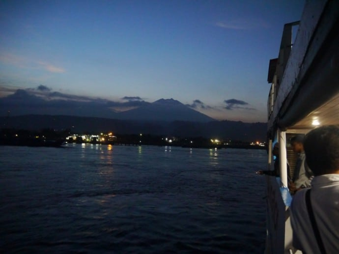 Ferry Arriving in Ketapang/Banyuwangi - With Ijen Volcano View