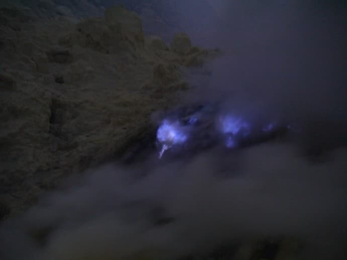 Blue Flames From Burning Sulphur Gas