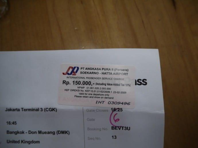 150,000 IDR Departure Tax Receipt