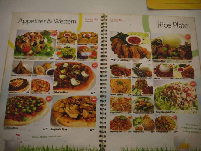 Menu At Loving Hut, Surabaya