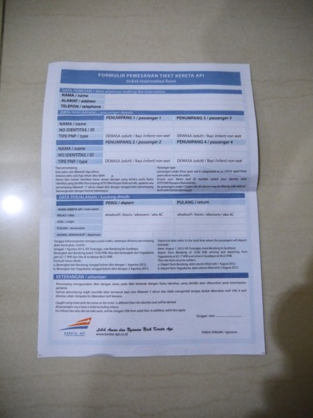 Ticket Reservation Form