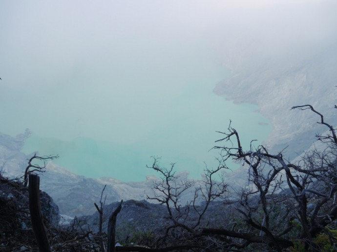 Acid Lake At Ijen Crater, Indonesia