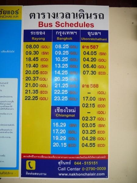 Nakhon Chai Air Bus Timetable From Surin