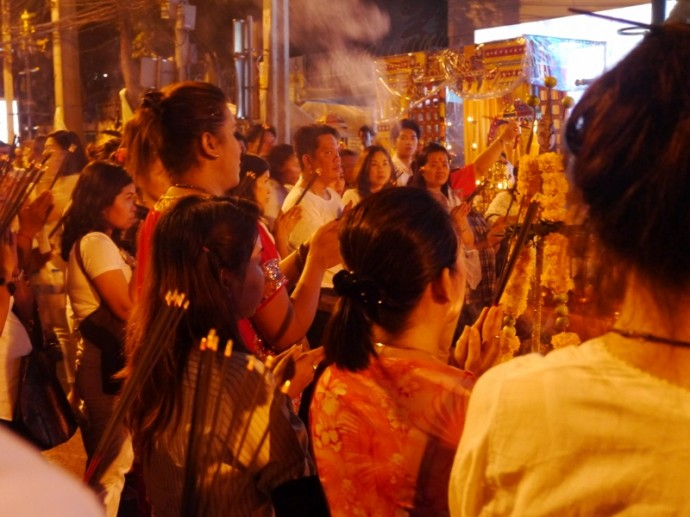 People Praying At Navaratri Hindu Festival, Bangkok