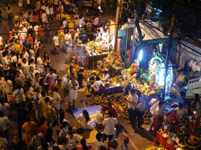 Crowds Around A Shrine At Navaratri Festival, Bangkok