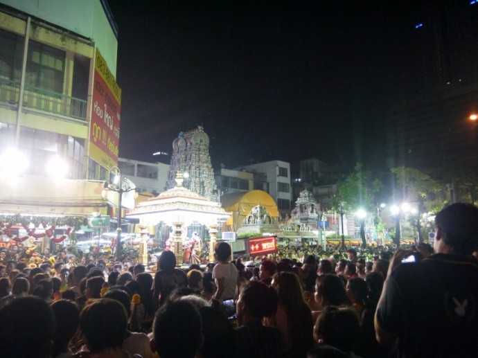 Crowds Enjoying Navaratri Hindu Festival On Silom Road, Bangkok