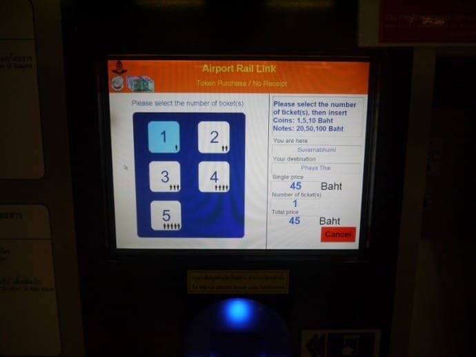 Ticket Machine Showing Suvarnabhumi Airport To Phaya Thai