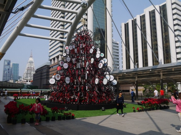 Bangkok Christmas Tree Made From Bikes - Amazing