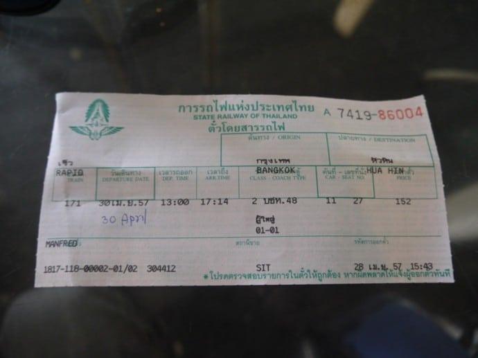 Bangkok To Hua Hin Train Ticket