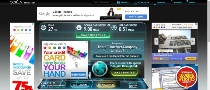 Wifi Speed Test At Tira Tiraa Condo, Hua Hin