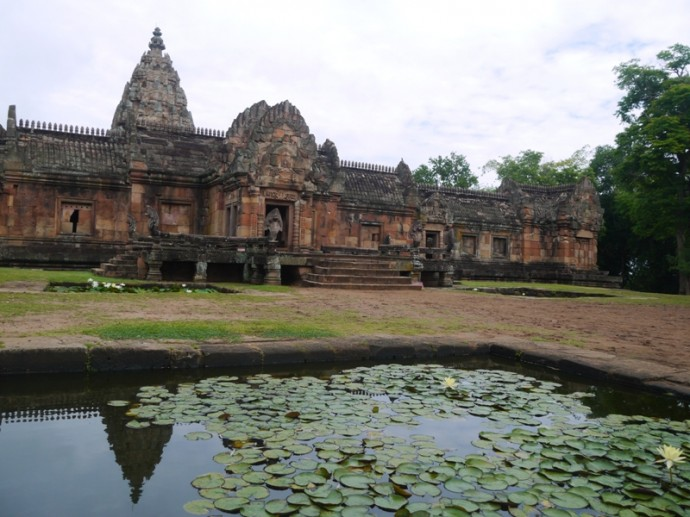 Phanom Rung Reflecting Into Water Lily Pond