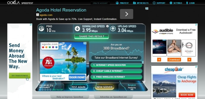 Internet Speed Test At Maneerote Hotel, Surin