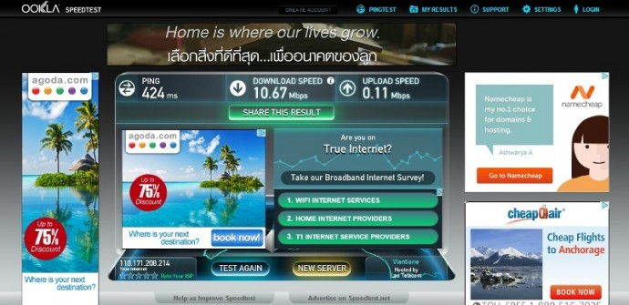 Wifi Speed Test At The Rim Riverside Hotel, Nong Khai