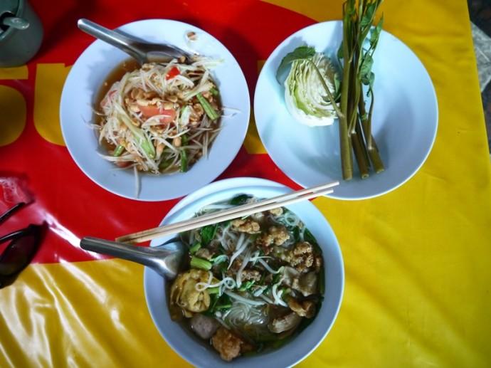 Noodles & Somtum At Ruen Thai, Khon Kaen, Thailand