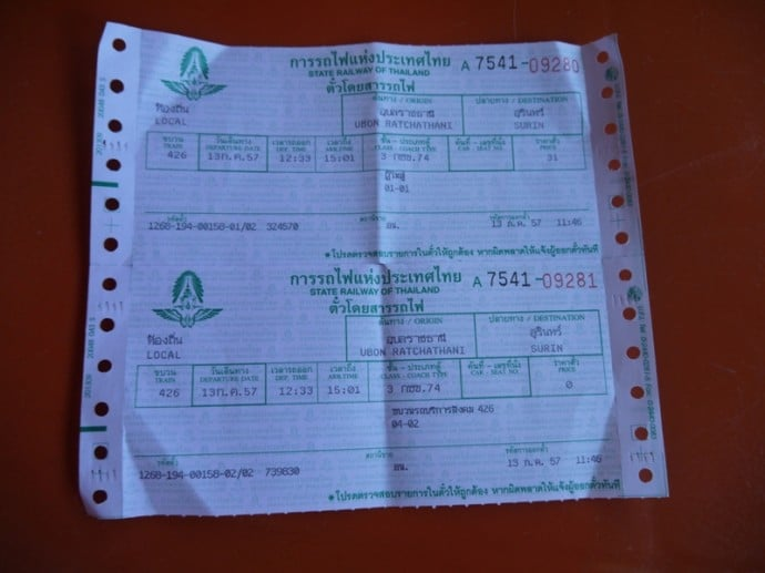 Ubon Ratchathani To Surin Train Tickets