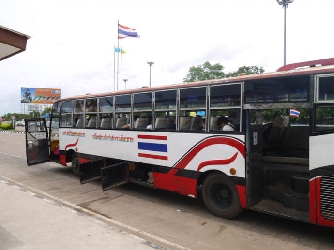 Our Bus Across The Thai-Lao Friendship Bridge