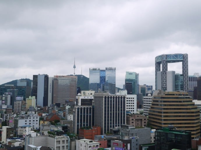View From Rooftop Looking Towards N Seoul Tower & The City Center
