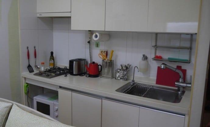 Kitchen At Charm #3 Apartment, SK Hub, Seoul