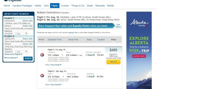 Expedia - Flying On Day Later Was $133 Per Person More Expensive