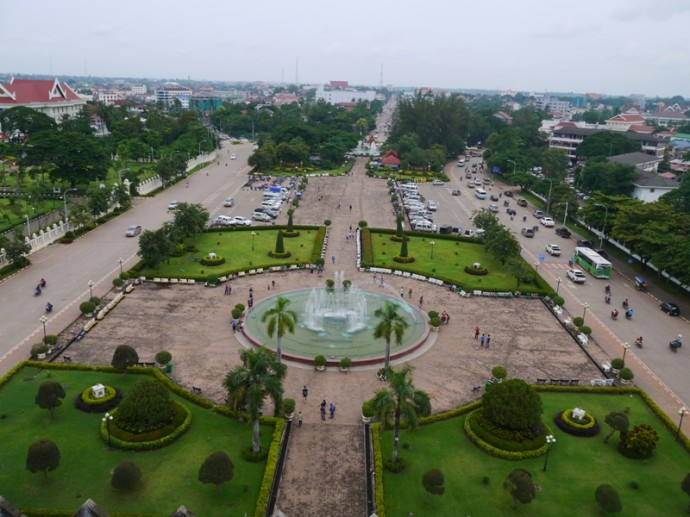 View From Top Of Patuxai Looking Towards Patuxai Park