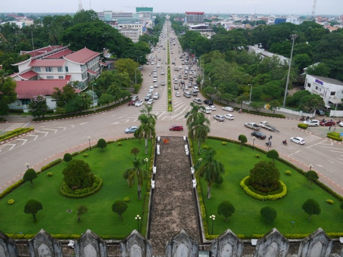 View From Top Of Patuxai Looking Down Avenue Lane Xang