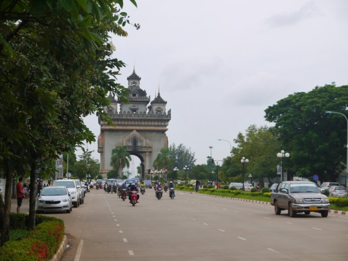 Approaching Patuxai From Avenue Lane Xang