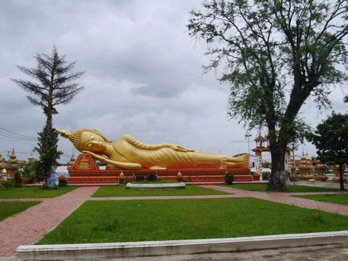 Giant Sleeping Buddha At Pha That Luang, Vientiane, Laos