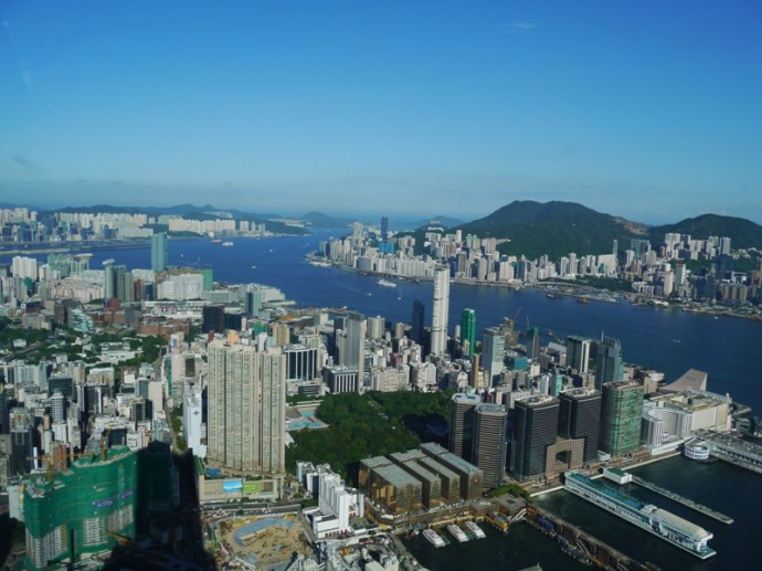 View From Sky100 Observation Deck At International Commerce Centre, Kowloon, Hong Kong